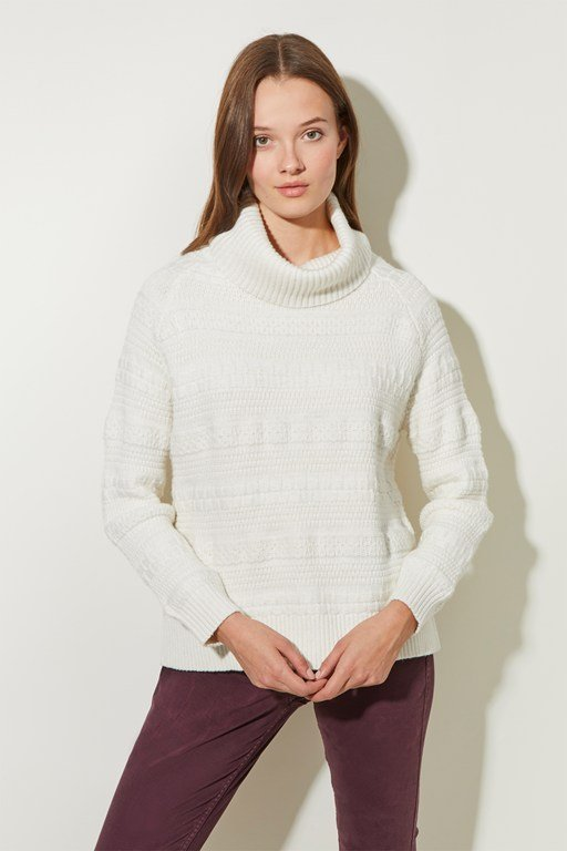 multi texture roll neck jumper