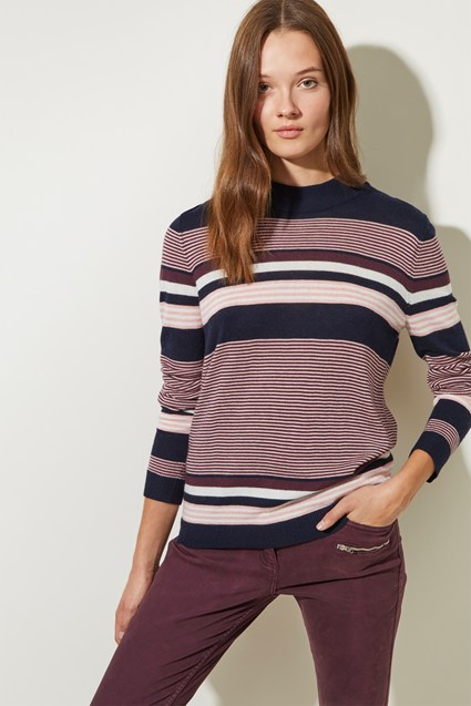 Multi Stripe Roll Neck Jumper