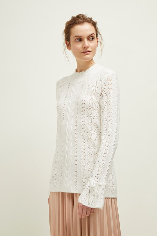 femme pointelle high neck jumper