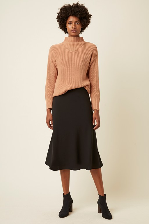 rhine knit high neck rib jumper