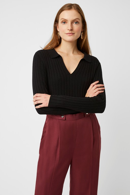 scarlet knit collared jumper