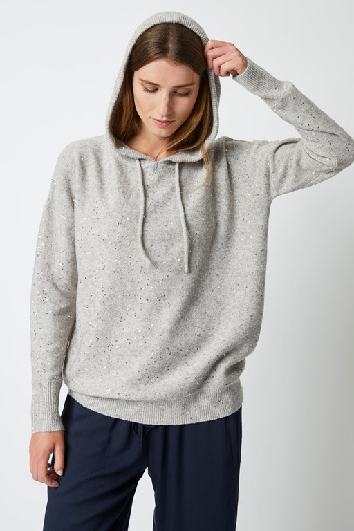 remi knit sequin hoodie