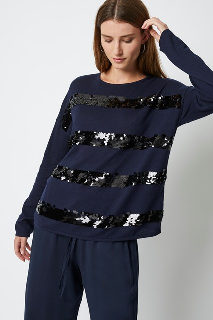 Queenie Knit Sequin Stripe Jumper