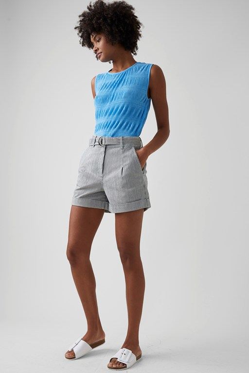 cotton micro pinstripe shorts