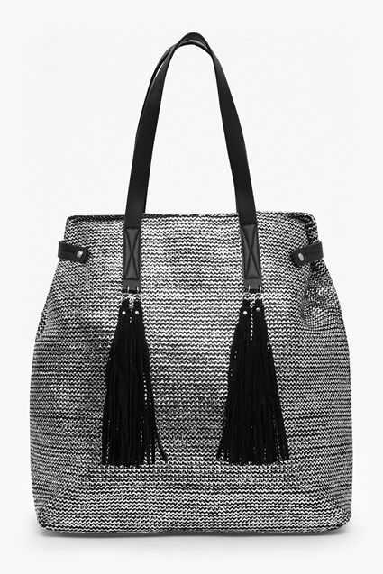 Silver Slouch Tote Bag