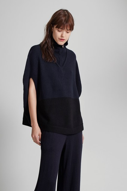 Otto Knit Two Tone Poncho