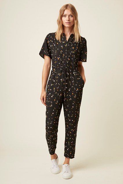 Abstract Fleur Button Through Jumpsuit