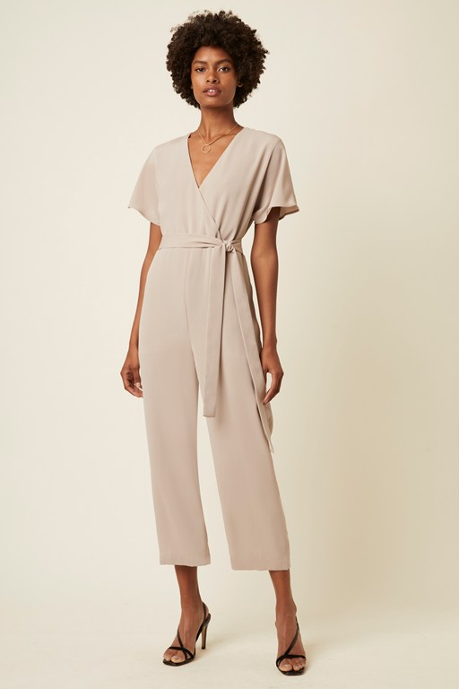 easy drape belted wrap jumpsuit