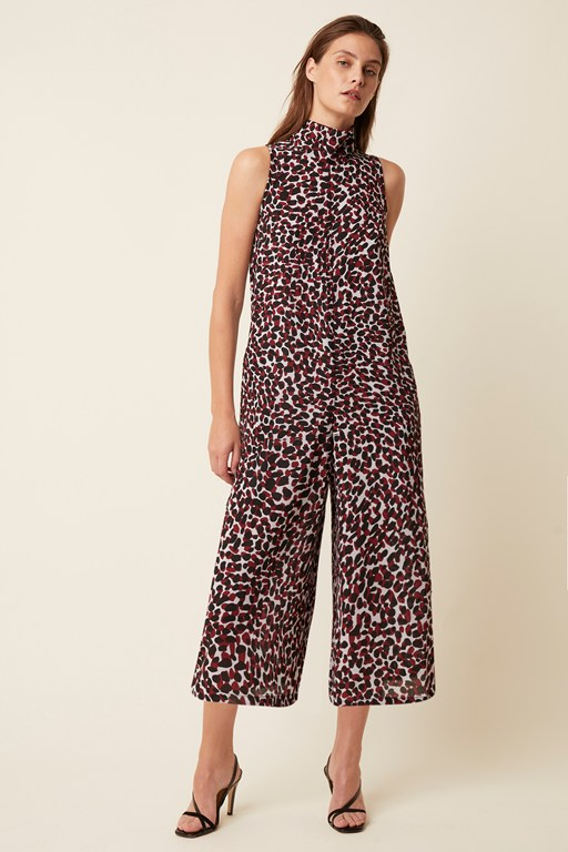 cara leopard high neck jumpsuit