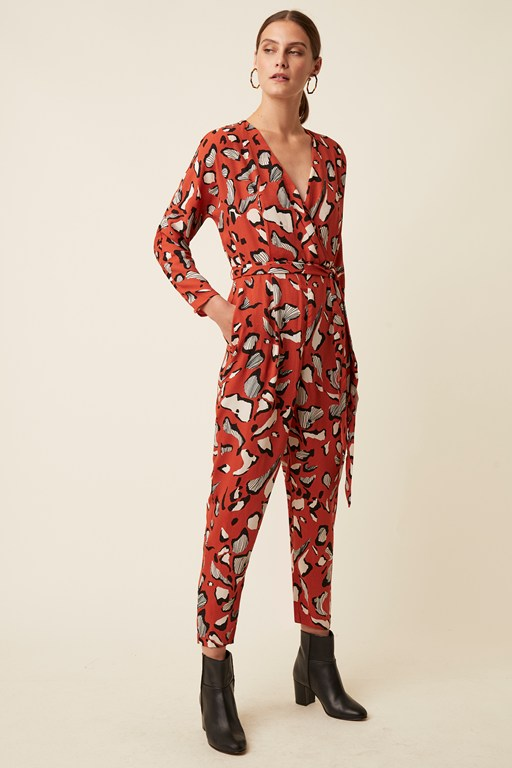 vivien abstract print long sleeve wrap jumpsuit