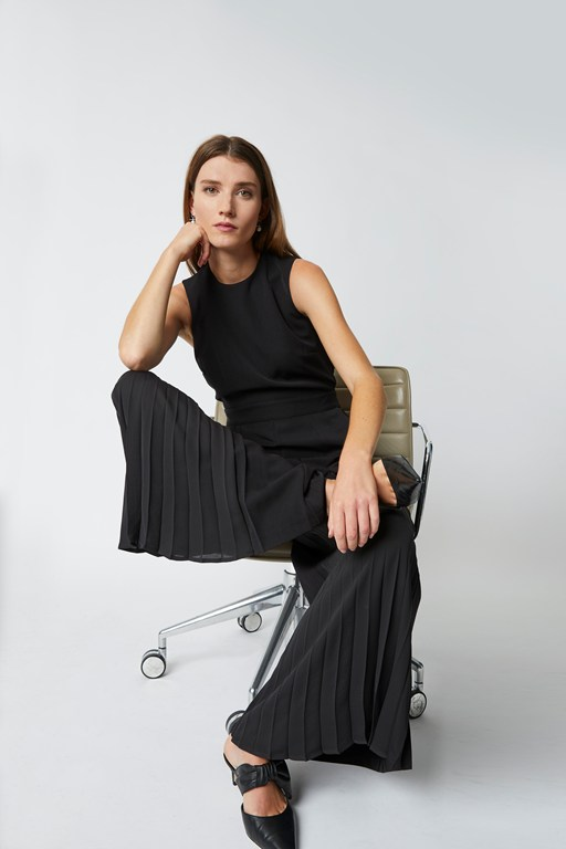 astro tailoring pleat detail jumpsuit