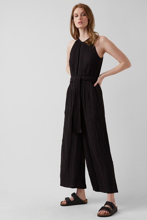 summer texture sleeveless jumpsuit