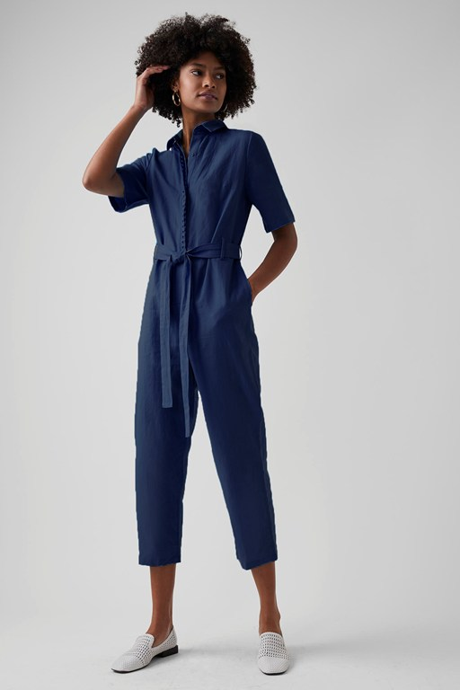 milos linen blend button jumpsuit