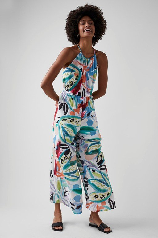 tropical print sleeveless jumpsuit