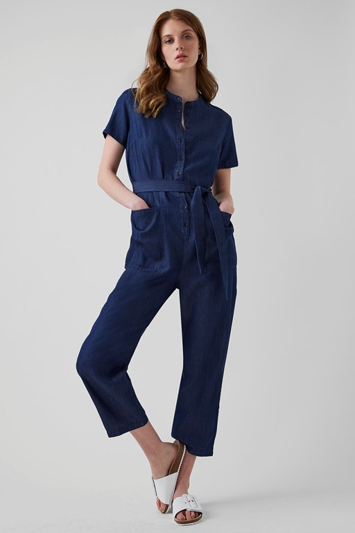 core chambray button front jumpsuit