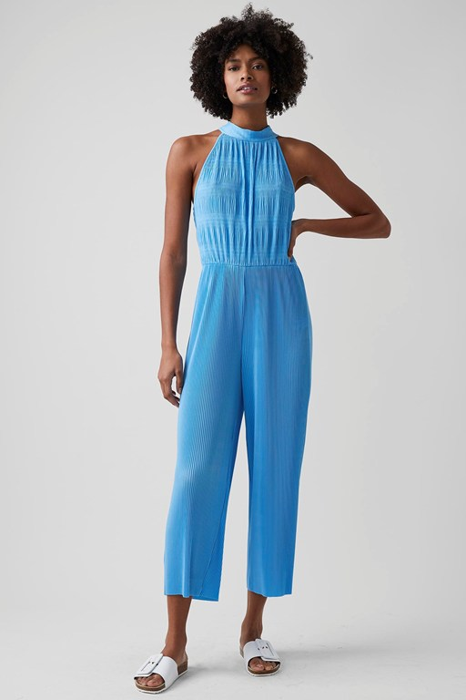 ruffle pleat jersey jumpsuit