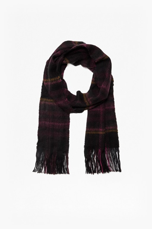 brushed check scarf