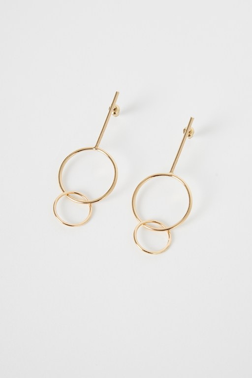 sienna double hoop drop earrings
